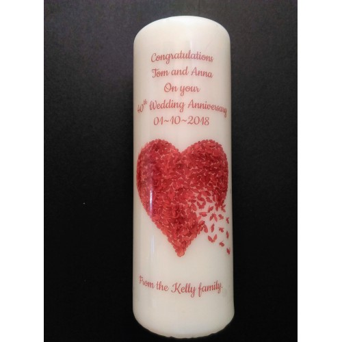 Ruby 40th Wedding Anniversary Large candle