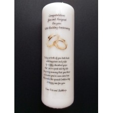 Golden 50th Wedding Anniversary Large candle