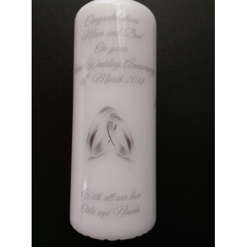 Silver 25th Wedding Anniversary Medium candle