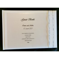 White and silver organza guest book