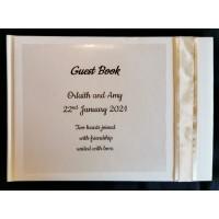 Cream and gold organza guest book