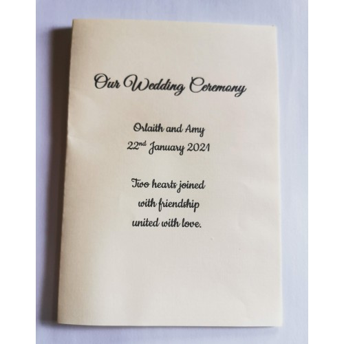 Cream and gold organza booklet cover