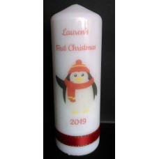 Baby's First Christmas Penguin Candle