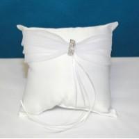 White Rhinestone Ring Cushion