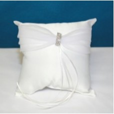 White Rhinestone Ring Cushion